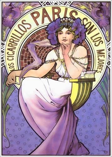 Stampa su legno 60 x 80 cm: Los Cigarrillos Paris, purple iris di Alfons Mucha