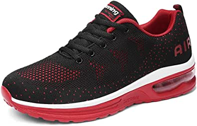 Scarpe da Ginnastica Uomo Donna Sportive Sneakers Running Basse Basket Sport Outdoor Fitness-BlackRed39