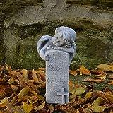 gartendekoparadies.de Liebevolle Engel Figur mit Grabstein aus Steinguss, frostfest Grabdeko