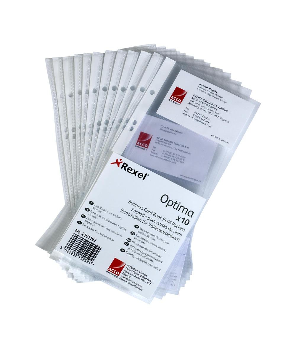 Optima Business Card Book Refill Pockets with 8 Card Storage Slots ...