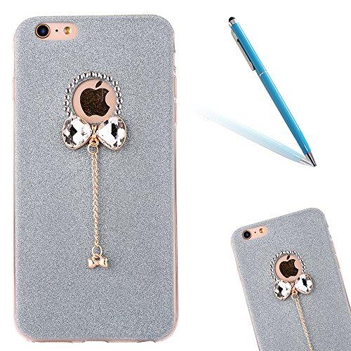 Clear Crystal Rubber Protettivo Case Skin per Apple iPhone 6/6s 4.7, CLTPY Moda Brillantini Glitter Sparkle Lustro Progettare Protezione Ultra Sottile Leggero Cover per iPhone 6,iPhone 6s + 1x Stilo  Blu