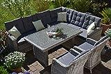 Bomey Rattan Lounge Set I Gartenmöbel Set Manhattan C-2 4-Teilig I Gartensofa Grau+ Zwei Sessel + Polster Grau I Essgarnitur für Garten + Terrasse + Wintergarten I Lange Seite des Sofas Links