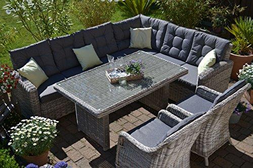 bomey Rattan Lounge Set I Gartenmöbel Set Manhattan C-2 4-Teilig I Gartensofa Grau+ Zwei Sessel +...
