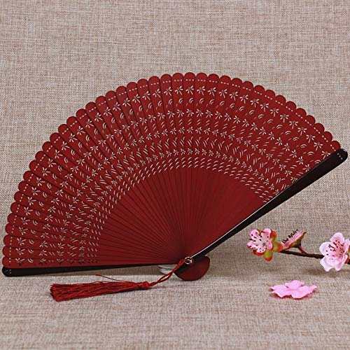 WANGYUJIN Folding Fan Chinese Style Bamboo Fan Carving Hollow Ancient Folding Fan Women's Japanese Craft Small Folding Fan Classical Wine Red - Japanese - Fan Folding Red