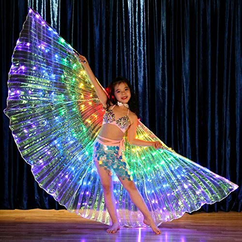 Dušial LED Belly Dance Wings for Kid Girl, Shawl Fairy Ladies Cape Nymph Pixie Costume Angel Wings with Telescopic Sticks for Dance Performance Clothing