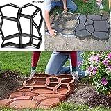 Leonc pavimentazione pavimentazione di cemento muffa Stepping Stone Mold prato giardino percorso lastricato Walk, Patterns irregolari, 45x 45x 4cm (43,2x 43,2x 4,1cm), nero