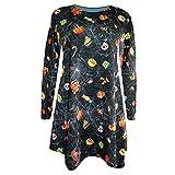 Costour Robe Femme Style Occidentale Costume Pour la Fête Toussaint Déguisement Imprimée des Motifs Horrible Robe Fille Cartoone Robe au Genou Multicolor