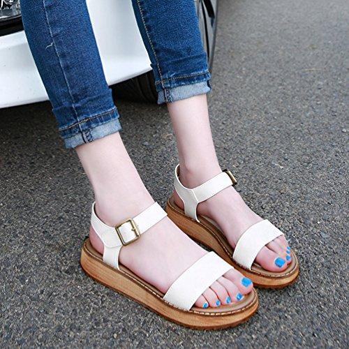 Sandales Yiiquan Femmes D'été Plat Comfort Peep Toe Rome Casual Chaussures Blanches Plates Femmes