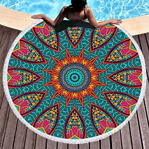 Tropisches Strandtuch Mit Sonnenschutz, Mikrofaser Mit Quastenmuster, Mandala