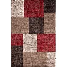 Lalee 347167692 Mondo 105 - Alfombra con diseño de cuadros (80 x 150cm), color rojo y marrón