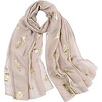 KAVINGKALY Sciarpa con piume da donna Sciarpe in oro rosa con glitter e sciarpe stampate con piume