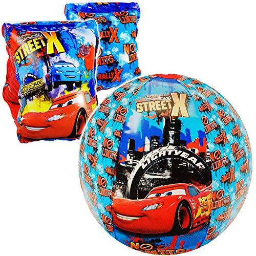 alles-meine.de GmbH Set _ Schwimmflügel & Strandball - aufblasbar -  Disney Cars - Auto  - 2 bis 6 Jahre - jeweils 2 Luftkammern ! - Ball Wasserball - Schwimmärmel Schwimmhilfe.. (Mickey Badespielzeug)