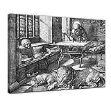 Bilderdepot24 Kunstdruck - Alte Meister - Albrecht Dürer - der Heilige Hieronymus im Gehäus - 80x60cm Einteilig - Leinwandbilder - Bilder als Leinwanddruck - Bild auf Leinwand - Wandbild