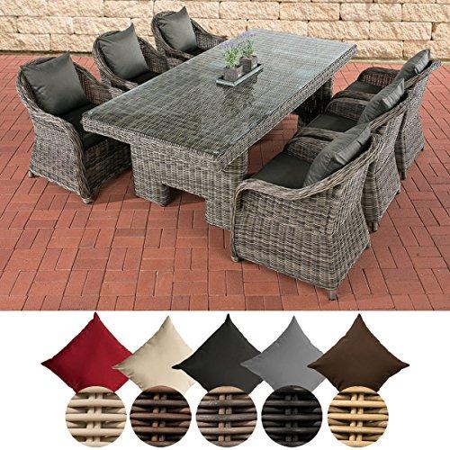 CLP Polyrattan-Sitzgruppe CANDELA inklusive Polsterauflagen   Garten-Set bestehend aus einem Esstisch mit einer pflegeleichten Tischplatte aus Glas und sechs Sesseln   In verschiedenen Farben erhältlich Bezugfarbe: Anthrazit, Rattan Farbe grau-meliert