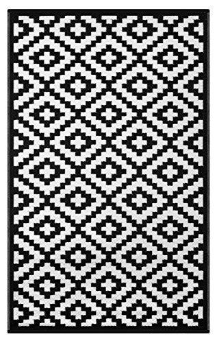 Green Decore 180 x 270 cm Wendbarer Öko-Teppich aus recyceltem Kunststoff (Plastik) für Innen und Außen / Federleicht - Schwarz / Weiß