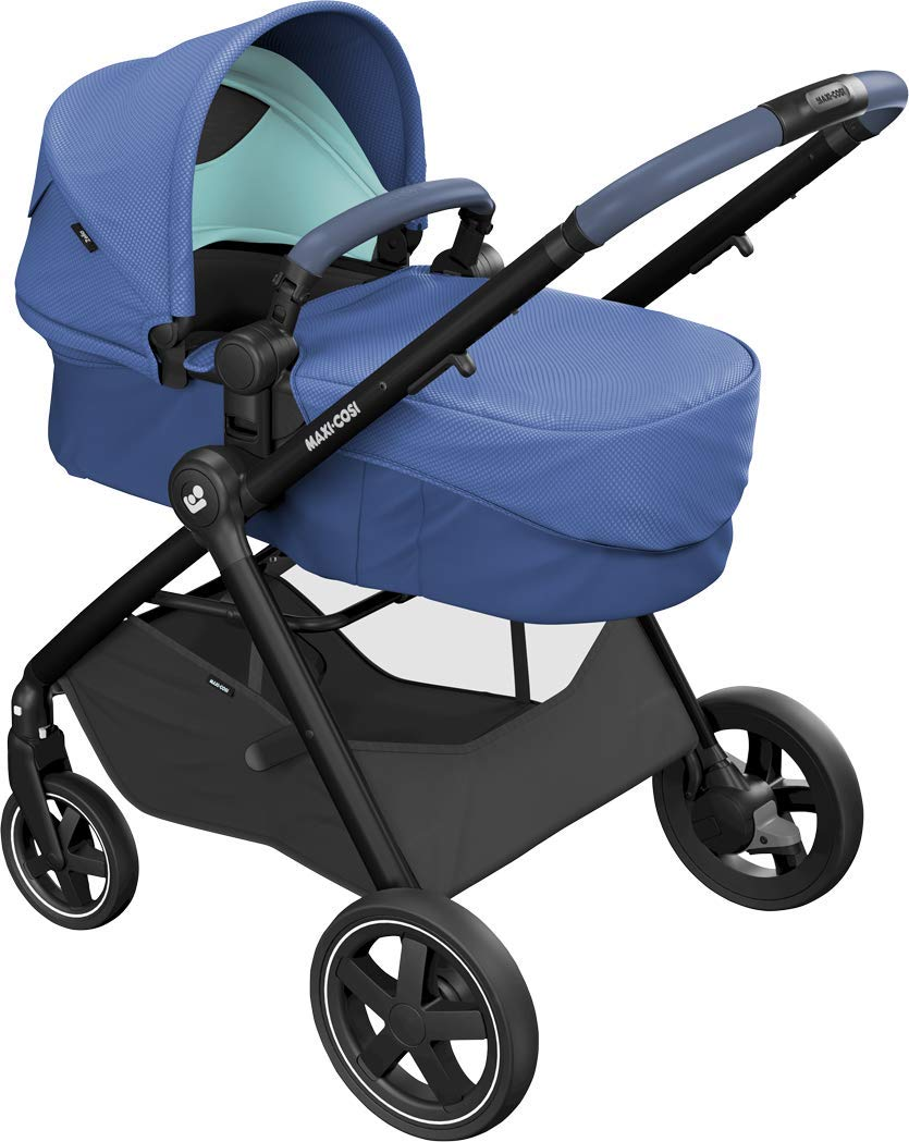 Maxi-Cosi Zelia Baby Pushchair, Lightweight Urban Stroller from Birth, Travel System with Bassinet, 15 kg, Essential Blue Maxi-Cosi Flexible stroller from birth to 3.5 years 2-in-1 seat unit: zelia's seat transforms into a pram bassinet for use from 0 - 12 m in a single movement This city stroller is easy to carry thanks to its lightweight 11