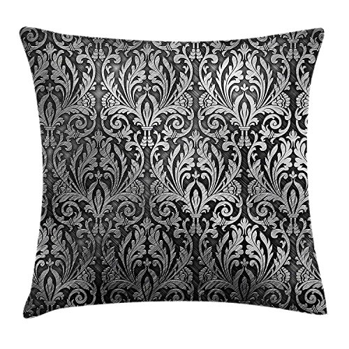 Silver Throw Pillow Cushion Cover, Graphic with Classic Floral Ornaments Medieval Empire Royal Engraving Style Print, Decorative Square Accent Pillow Case, 18 X 18 Inches, Grey Black Black Empire Baby Doll