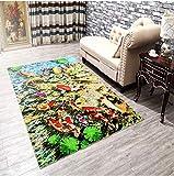 DAMENGXIANG Moderne Chinesische Koi Fisch Druck Teppich Für Wohnzimmer Couchtisch Schlafzimmer Rutschfeste Bodenmatte Wohnkultur Fuß Pad 80 × 120 cm
