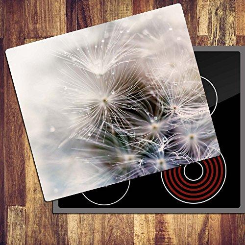 decorwelt | Ceranfeldabdeckung 60x52 cm Herdabdeckplatten 1 Teilig Elektroherd Induktion Herdschutz Deko Glasplatte Schneidebrett Sicherheitsglas Spritzschutz Glas Pusteblume
