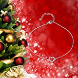 Elegant Heart ANKLET With Micro Pave AAA Zircon, STERLING SILVER Anklet / Ankle Chain / Ankle Bracelet includes Pretty Gift Box- Adjustable Bild 2
