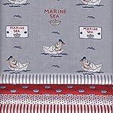 Stoffpak (Stoffpaket) Kollektion Baby Segler - ROT, Grau, Blau und Weiß | 5 Stoffe | 100% Baumwolle | 35 x 50 cm