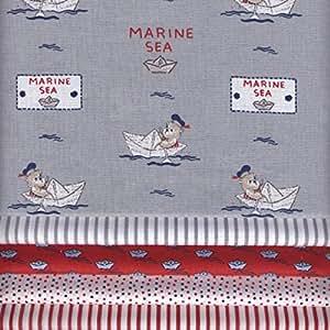 Stoffpak - 5 Coupons Tissus - Collection 'bébé matelot' - ROUGE - 35 x 50 cm chacun