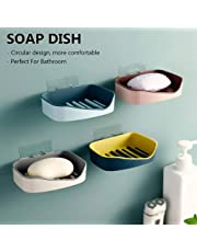 HOME CUBE ABS Plastic Adhesive Sticker Waterproof Kitchen Bathroom Soap Dish Soap Holder (13 X 10 X 3.5 cm, Random Colour) - Pack of 4