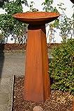 Säule mit Schale Rost aus Metall !! Höhe kpl. ca. 108cm !! Rostsäule Gartendeko Edelrost Säule Deko !!! 2er Set !!!! Ständer mit Schale !!! ca.54cm Durchmesser Metallsäule konisch und Schale