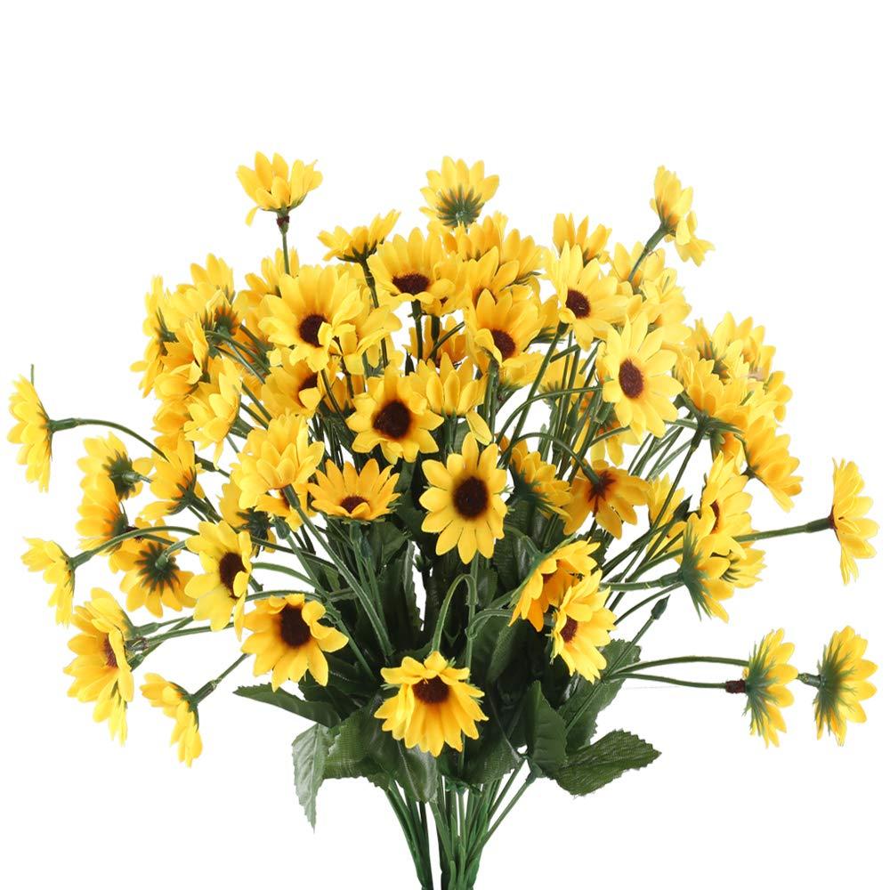 HUAESIN 4pcs Flores Artificiales Amarillas Margaritas Artificiales Decoracion Exterior Interior Arbusto Plastico Flor…