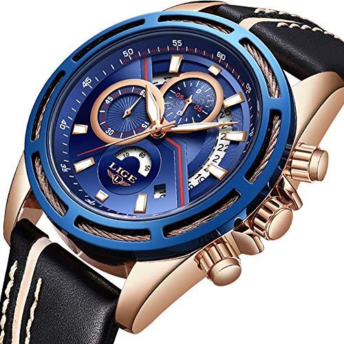 Relojes para Hombres,LIGE Impermeable Cronógrafo Deportivo Militar Reloj Analógico de Cuarzo Correa de Cuero Esfera Azul Fecha Moda Casual Lujo Relojes de Pulsera