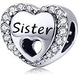 Fanona - Ciondolo a forma di cuore, in argento Sterling 925, con scritta Sister, adatto per braccialetti e collane Pandora