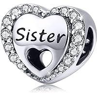 Fanona - Ciondolo a forma di cuore, in argento Sterling 925, con scritta Sister, adatto per braccialetti e collane…