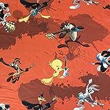 Lizenzierte Looney Tunes Show orange Neuheit Premium Grade 100% Baumwolle feines Gewebe Kinder Vorhang Betten Stoff 140cm breit, Meterware,