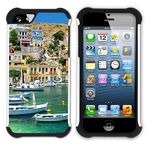 Graphic4You Greece Sea View Postkarte Ansichtskarte Design Hart + Weiche Kratzfeste Hülle Case Schale Tasche Schutzhülle für Apple iPhone SE / 5 / 5S Design #1