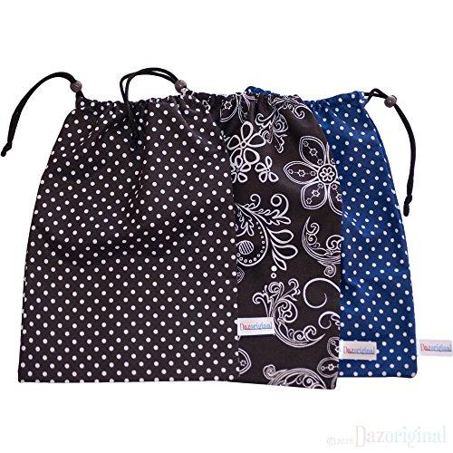 Dazoriginal Kleine Trage Kordel Tasche - Bag Insert Veranstalter - Bag Insert Baby - Windel Bay - Kids Wechsel der Kleidung Bag - Baumwolltasche - Schule Veranstalter - Klein baumwolle kordelzug- Windelsäckchen (2 Pack Mixed Colors) (Veranstalter Kordelzug)