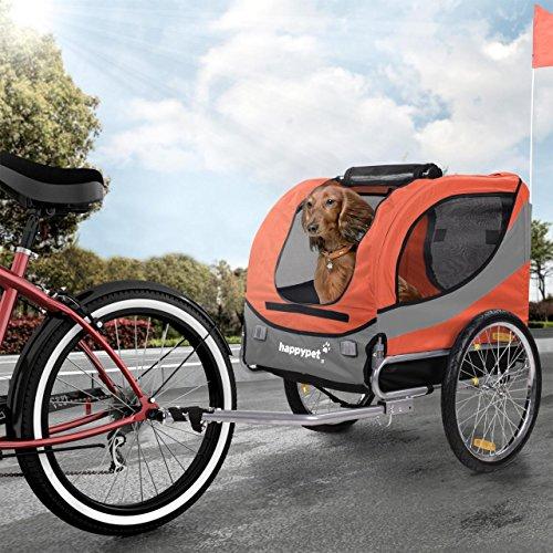 Happypet Hundeanhänger Hundetransporter Fahrradanhänger Hunde Fahrrad Anhänger Regenschutz inkl. Anhängerkupplung Regenschutz Sunset ROT (Hund Fahrrad Anhänger)