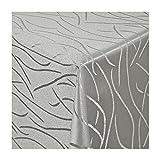 TEXMAXX Damast Tischdecke Maßanfertigung im Streifen-Design in grau-silber 120x190 cm eckig, weitere Längen und Farben wählbar