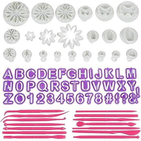 Anpro 76PCS Ustensiles Emportes-Pièces Avec Poussoirs Alphabets Lissages de Gâteau