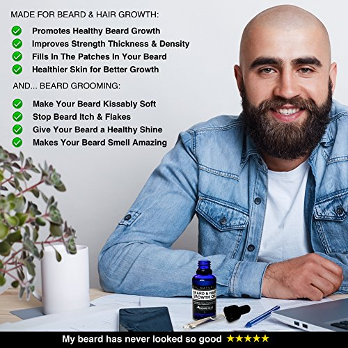 Hair-Beard-Growth-Oil-30ml-With-Highly-Concentrated-Biotin-Scented-with-Cedarwood-Eucalyptus-Rosemary-The-Best-Solution-to-a-Patchy-Beard-Bonus-eBook-The-Beard-Growers-Diet-Plan