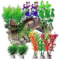 Kingrun Plantas Artificiales Acuario, 12 Piezas Plantas Verdes de Acuario de Plástico, Decoración de Resina, Acuarios Puente Decorativo Ornamento Paisaje para Decoración de Acuarios y Peceras