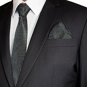Soul Cats® SET: gemusterte Krawatte mit Einstecktuch + Anleitung Streifen Schlips Herren, Modell:Modell 8
