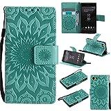 Nancen Tasche Hülle für,Sony Xperia Z5 Mini Hülle,Sony Xperia Z5 Compact / Z5 Mini (4,6 Zoll) Leder Wallet Tasche Brieftasche Schutzhülle, Prägung Sonnenblume Muster