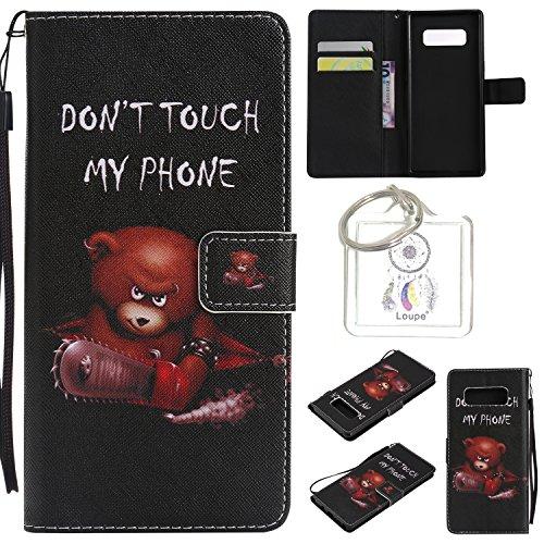 Preisvergleich Produktbild für Galaxy Note8 PU Wallet Case Schutz Hülle für Galaxy Note8 - Cover Flip Tasche mit Kartenfach in Buch Stil mit Kartenfach Standfunktion Magnetverschluss und Hand Wrist +Schlüsselanhänger (O) (3)