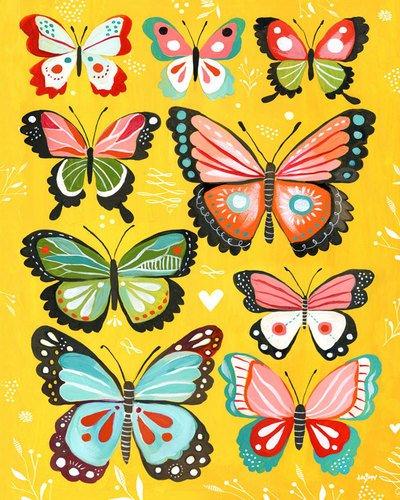 Kleister Art Collective Leinwand Wand Art Gelb Schmetterlinge von Katie Daisy, 24von 30 (Gelb Artwork Canvas)