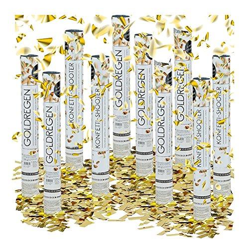 Preisvergleich Produktbild 10x Party-Popper 40 cm, 6-8m Effekthöhe, Hochzeitsdeko Konfetti-Shooter, Konfetti-Kanone, Hochzeitsgeschenke (Gold)