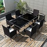 vidaXL Gemeinsam an Abendessen Gartenmöbel-Set 13-teilig Polyrattan schwarz