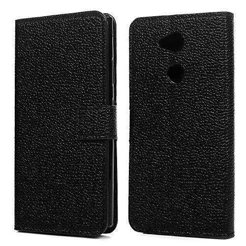 Sony Xperia L2Fall Schwarz, Premium Folio PU Leder Wallet Case Litchi Muster weichen TPU Inneren mit Ständer Tasche ID Kartenfächer Magnetverschluss Flip Notebook Schutzhülle für Sony Xperia L2