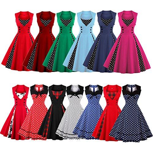 Damen 50er Vintage Retro Rockabilly Kleid Hepburn Stil Polka Dots