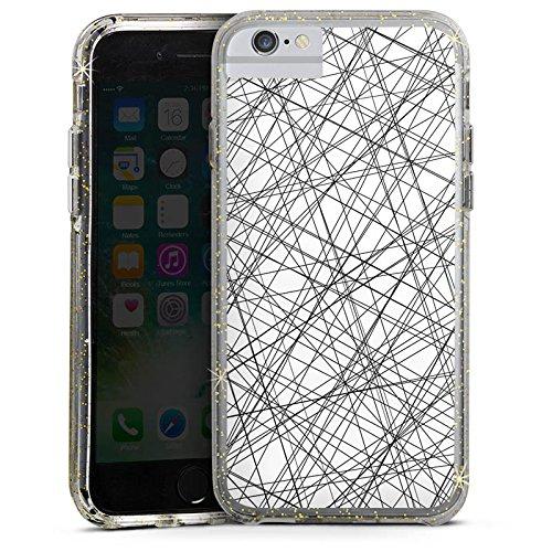 Apple iPhone 6s Bumper Hülle Bumper Case Glitzer Hülle Stripes Streifen Pattern Bumper Case Glitzer gold