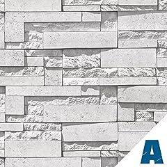 Idea Regalo - Artesive ST-03 Pietra Modern White larg. 50 cm x 2,5 mt. - Pellicola Adesiva in vinile effetto mattoni per interni per rinnovare mobili, porte e oggetti di casa